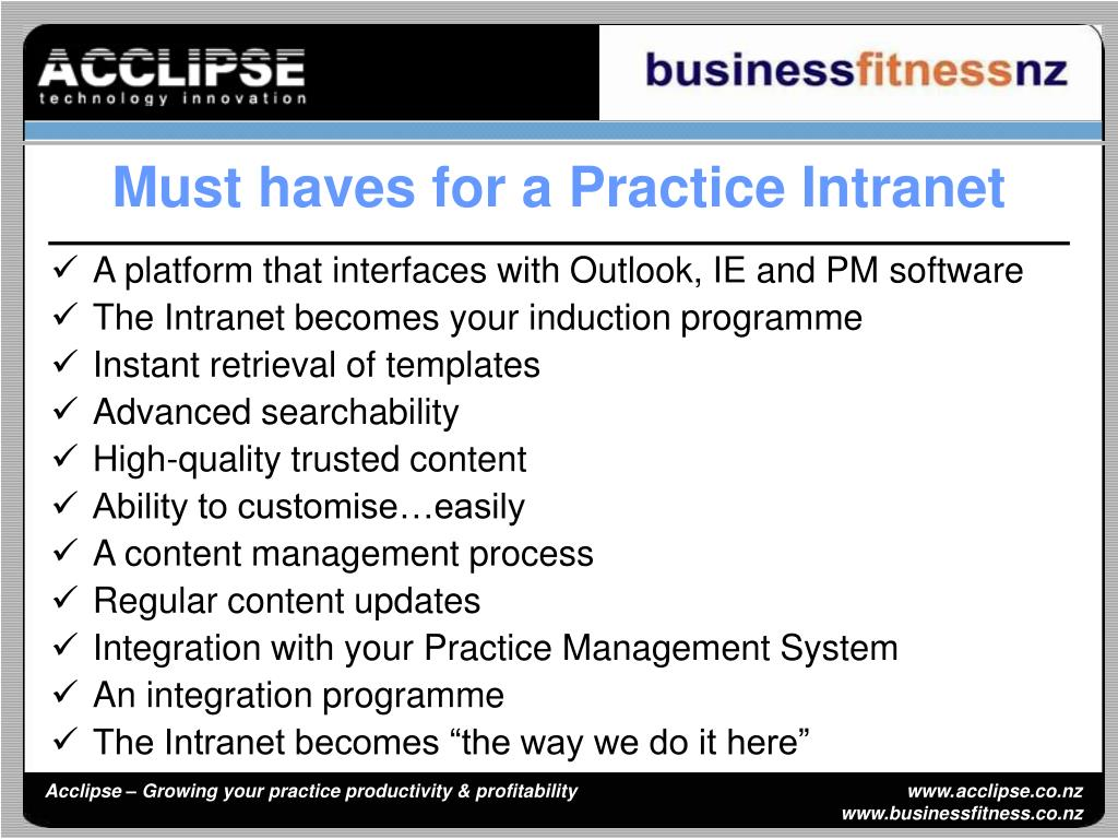 Must haves for a Practice Intranet
