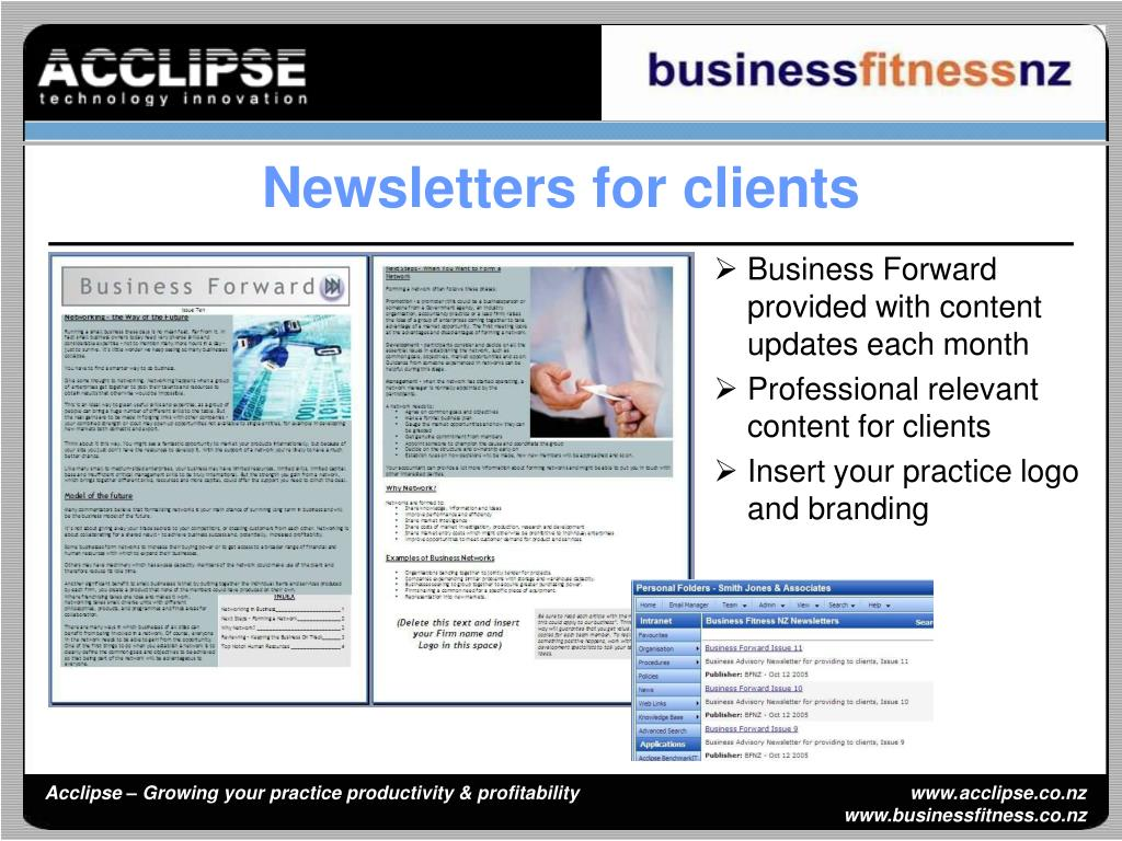 Business Forward provided with content updates each month