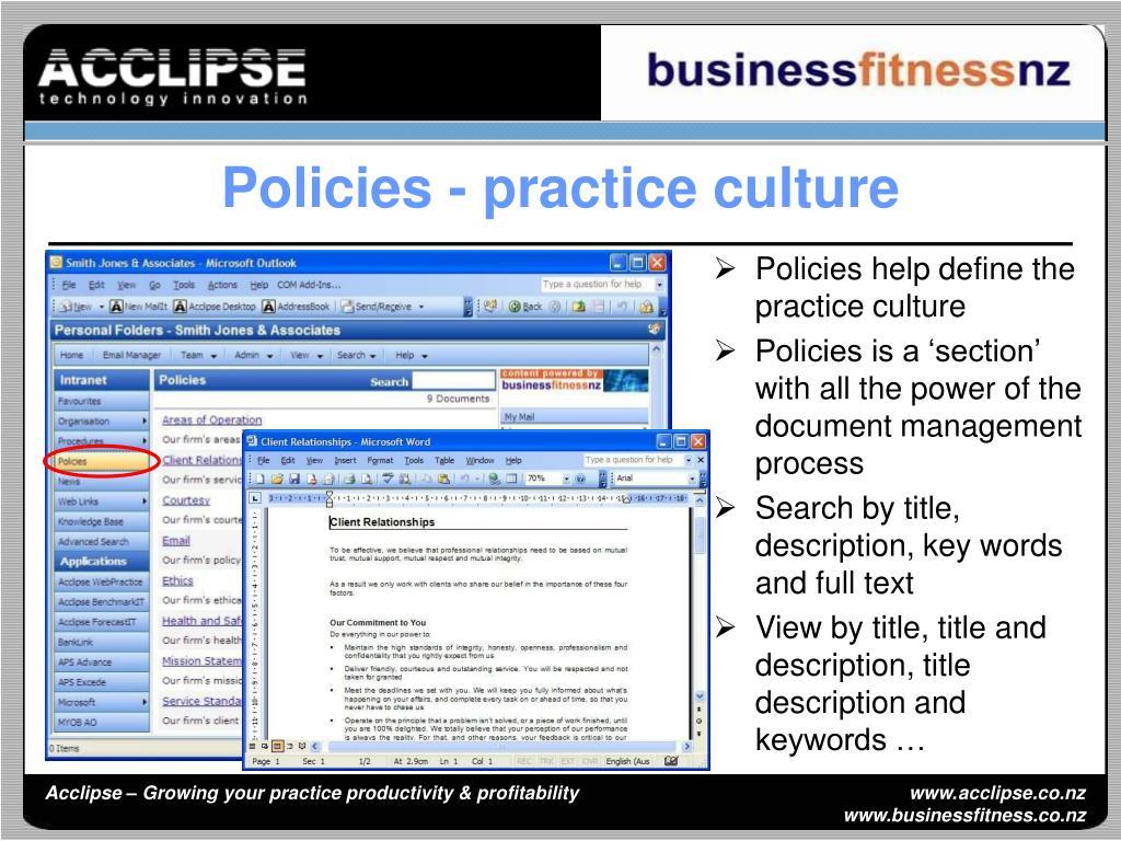 Policies - practice culture