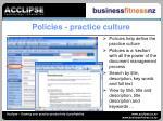 policies practice culture