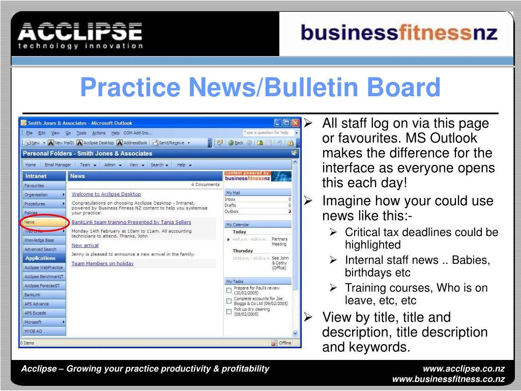 Practice News/Bulletin Board