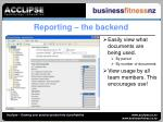 reporting the backend