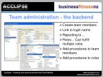 team administration the backend