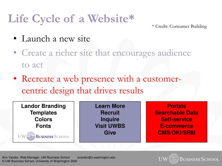 Life cycle of a website