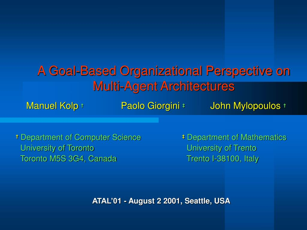 a goal based organizational perspective on multi agent architectures