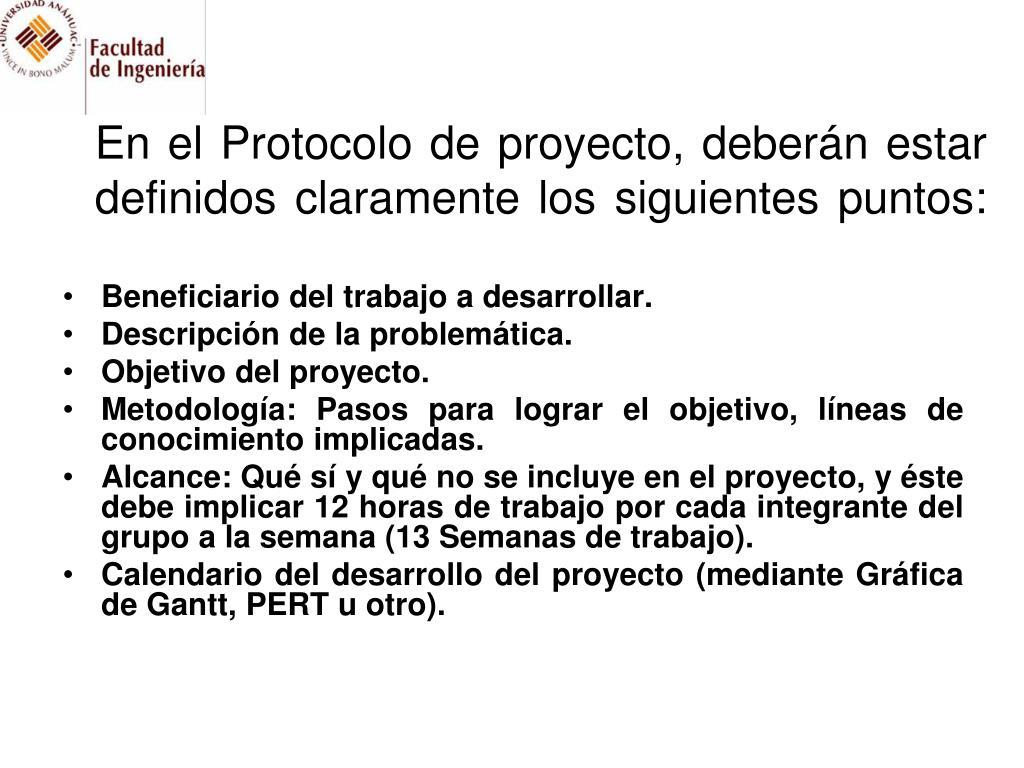 En el Protocolo de proyecto, deberán estar definidos claramente los siguientes puntos: