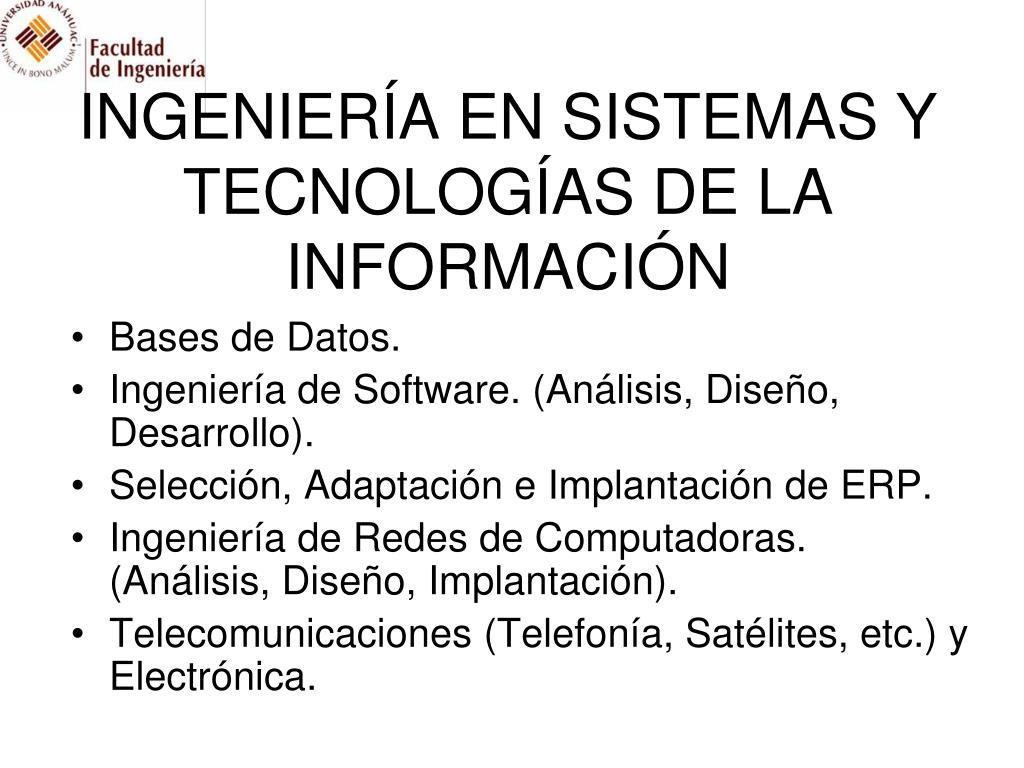 INGENIERÍA EN SISTEMAS Y TECNOLOGÍAS DE LA INFORMACIÓN