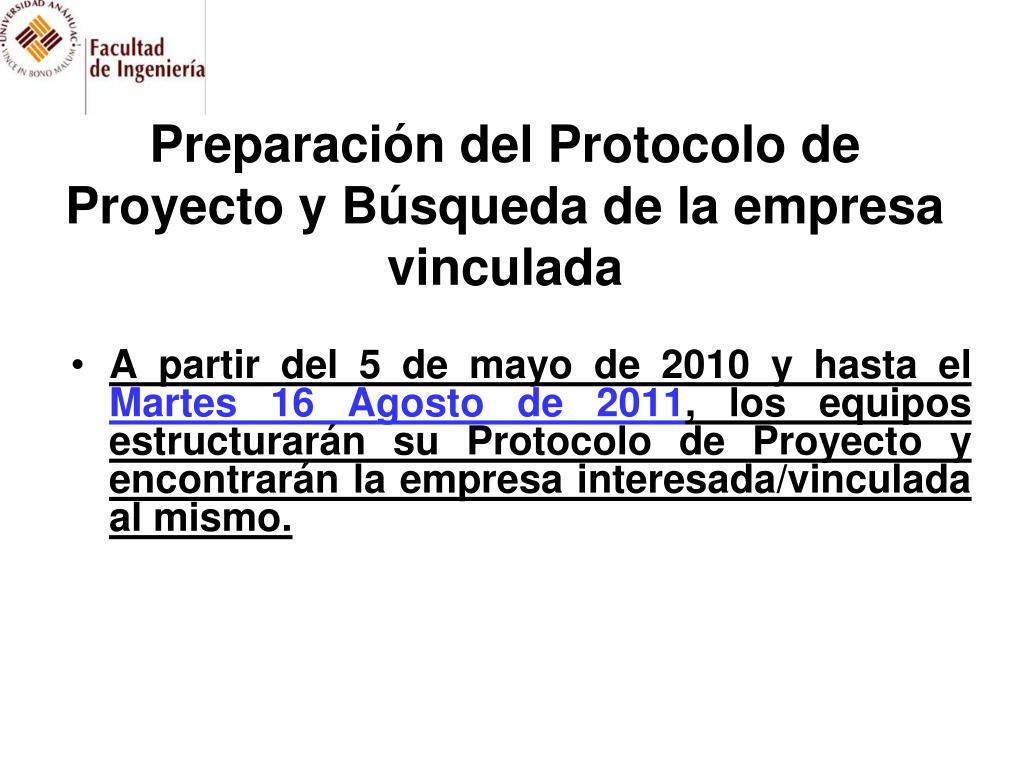 Preparación del Protocolo de Proyecto y Búsqueda de la empresa vinculada