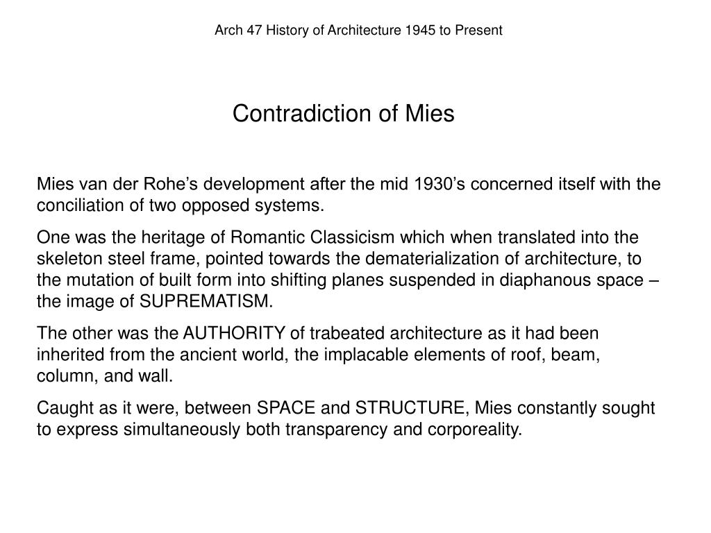 Contradiction of Mies
