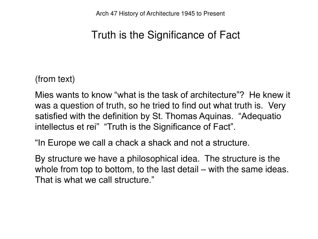 Truth is the Significance of Fact