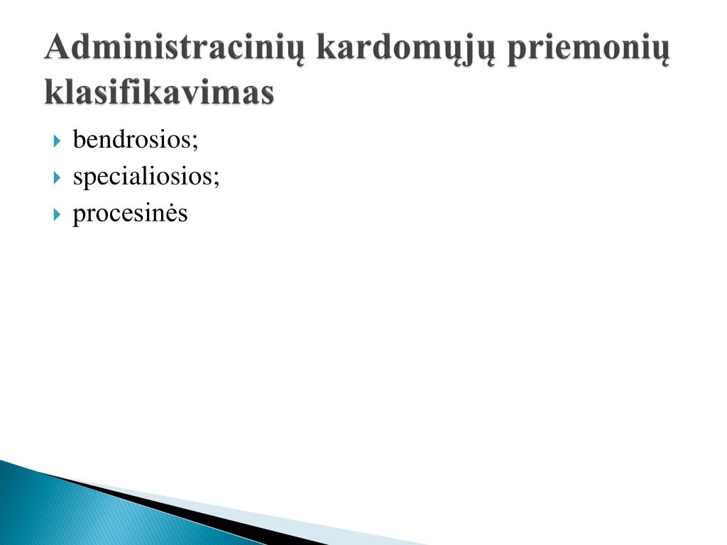 Administracinių kardomųjų priemonių klasifikavimas