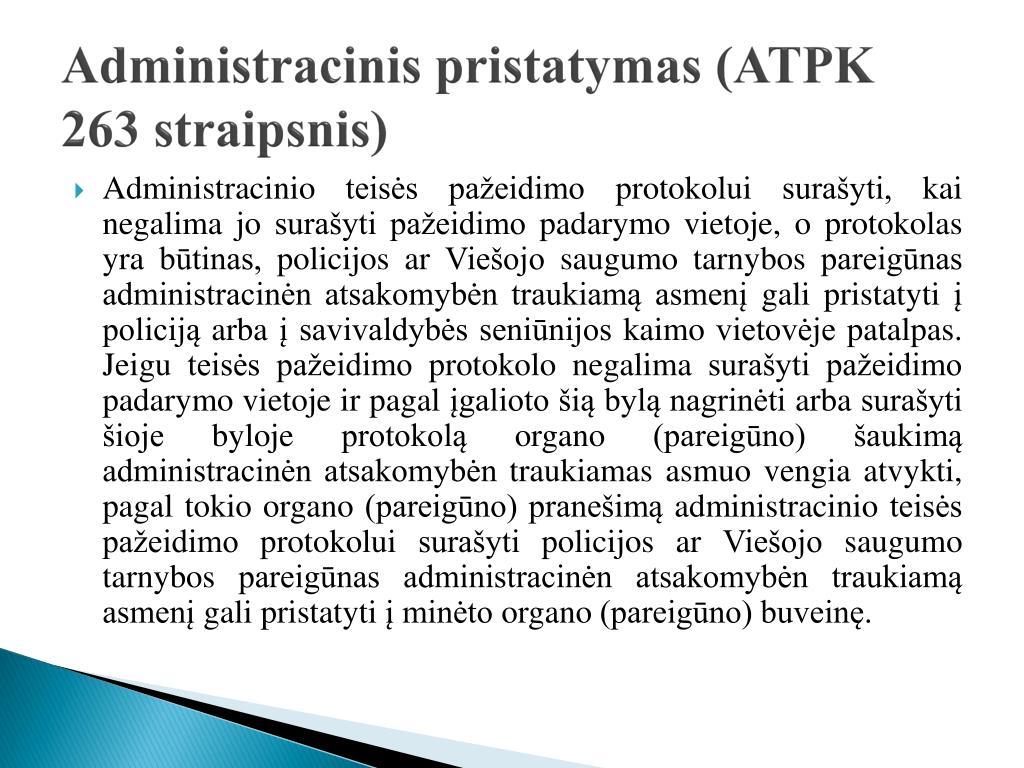 Administracinis pristatymas (ATPK 263 straipsnis)
