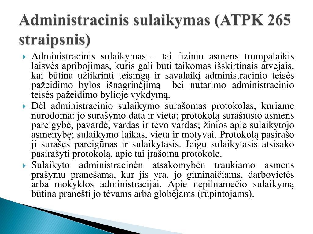 Administracinis sulaikymas (ATPK 265 straipsnis)