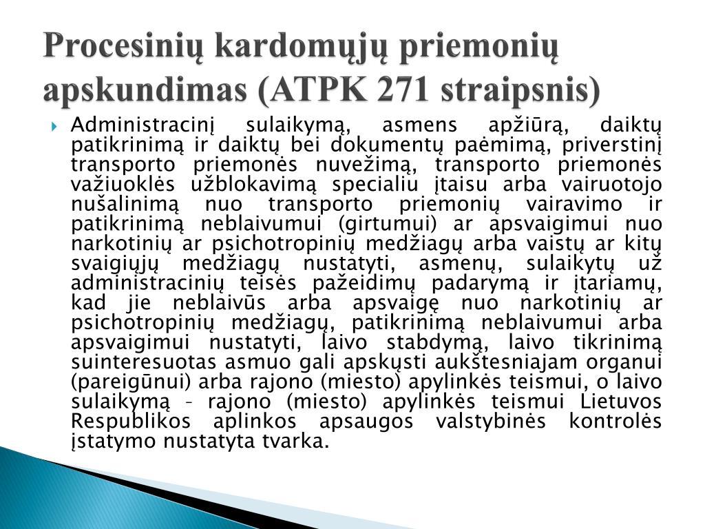 Procesinių kardomųjų priemonių apskundimas (ATPK 271 straipsnis)