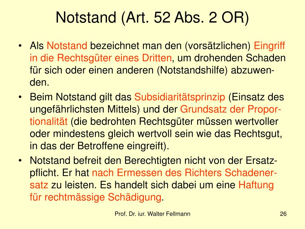 Notstand (Art. 52 Abs. 2 OR)