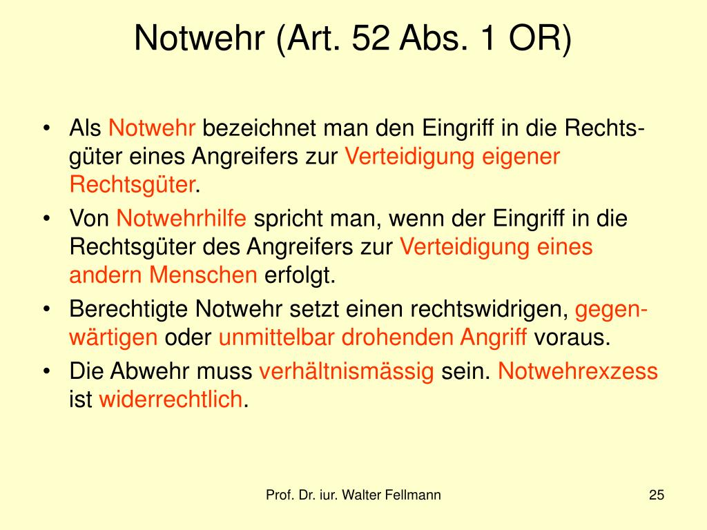 Notwehr (Art. 52 Abs. 1 OR)