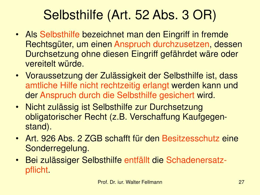 Selbsthilfe (Art. 52 Abs. 3 OR)