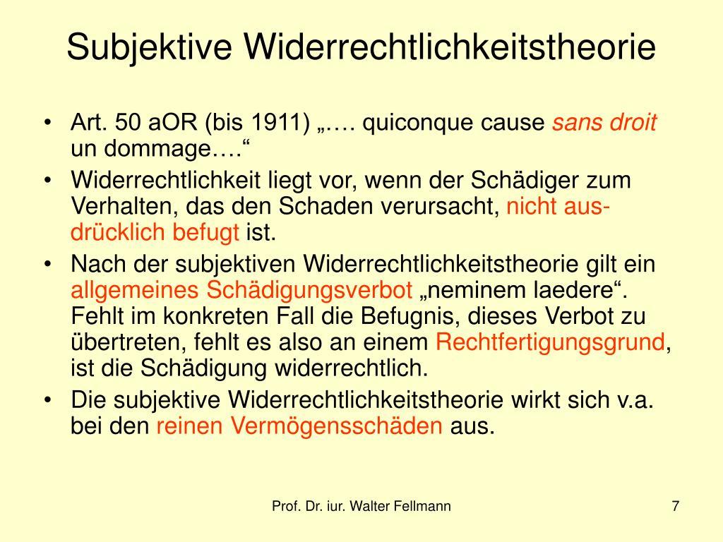 Subjektive Widerrechtlichkeitstheorie