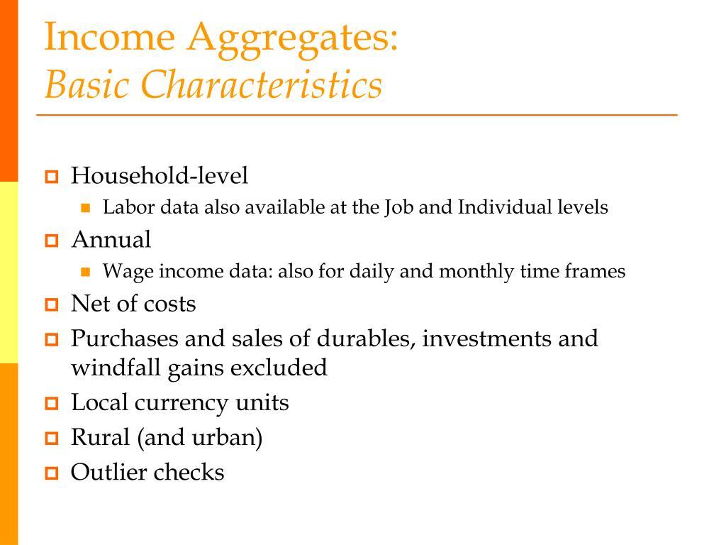 Income Aggregates: