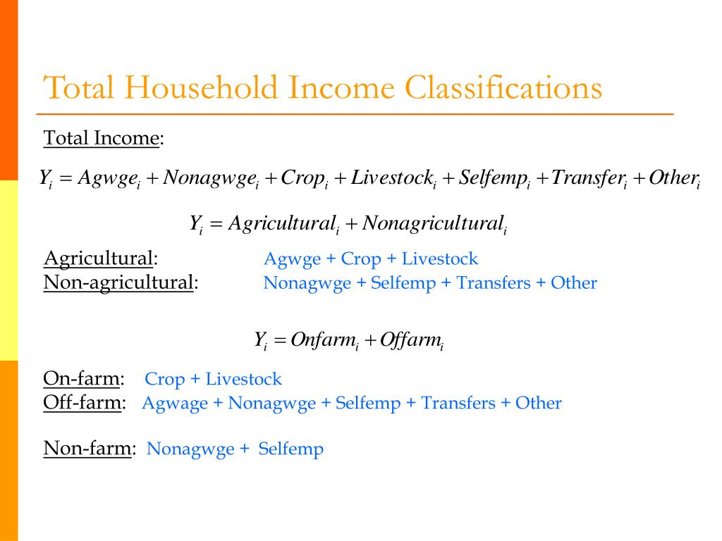 Total Household Income Classifications