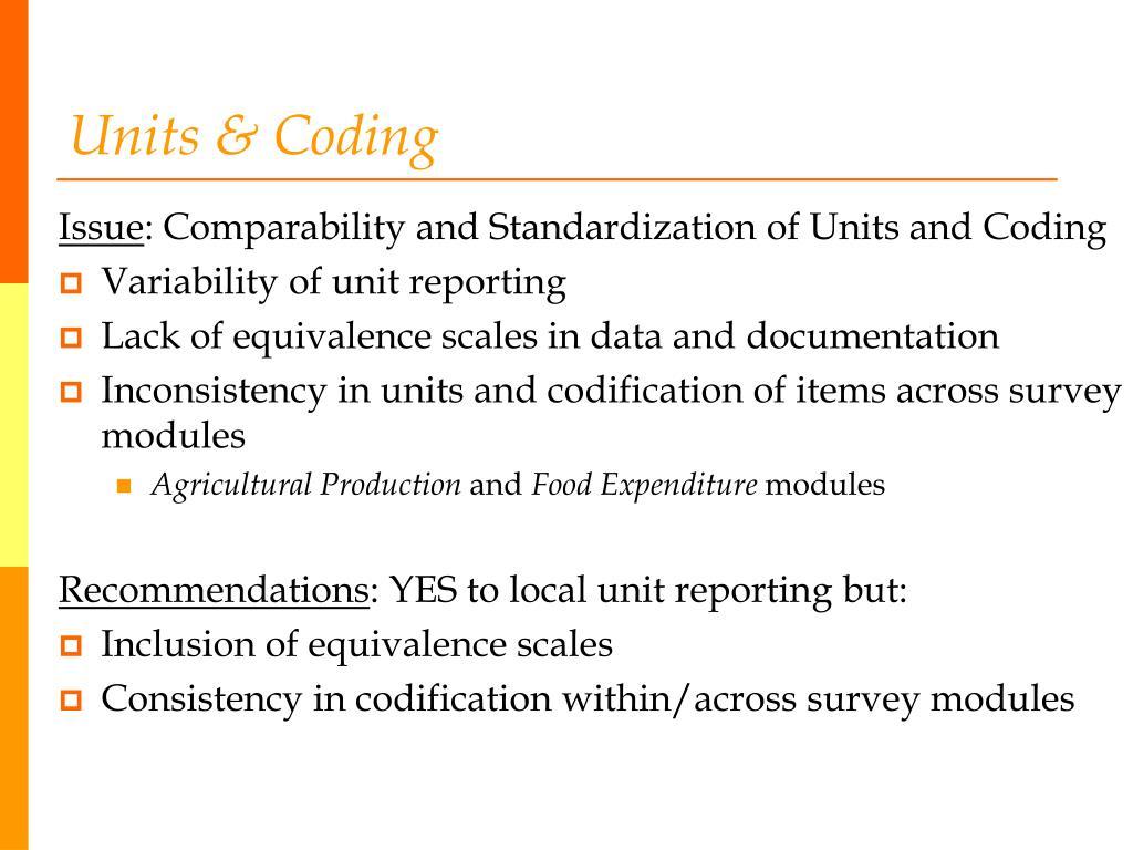 Units & Coding
