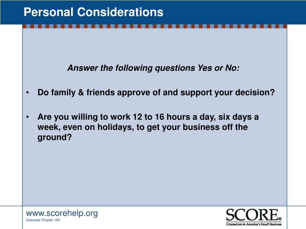 Personal Considerations