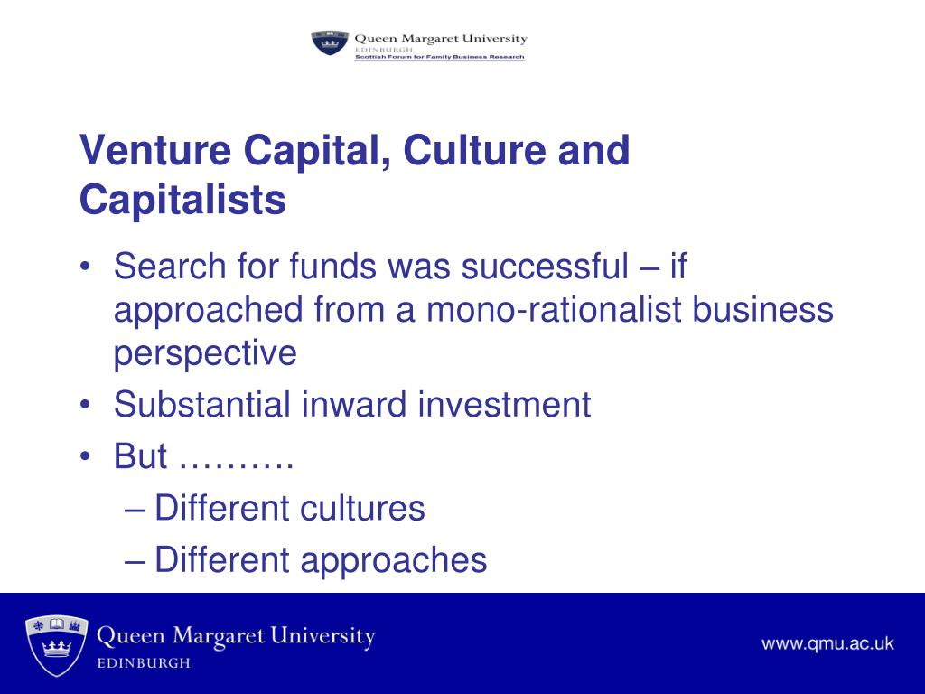 Venture Capital, Culture and Capitalists