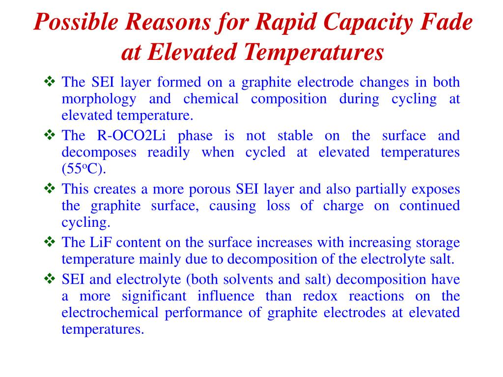Possible Reasons for Rapid Capacity Fade at Elevated Temperatures