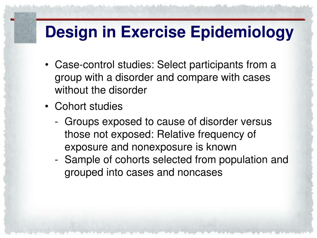 Design in Exercise Epidemiology