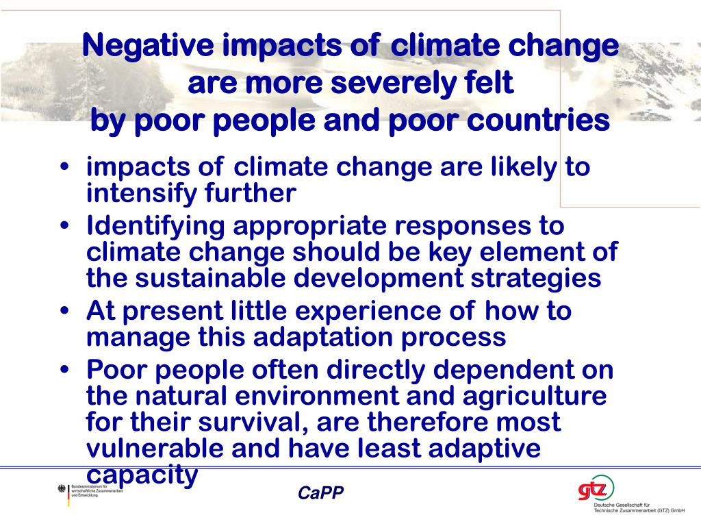 Negative impacts of climate change are more severely felt