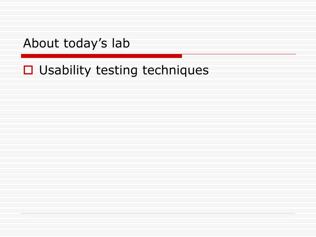 About today's lab