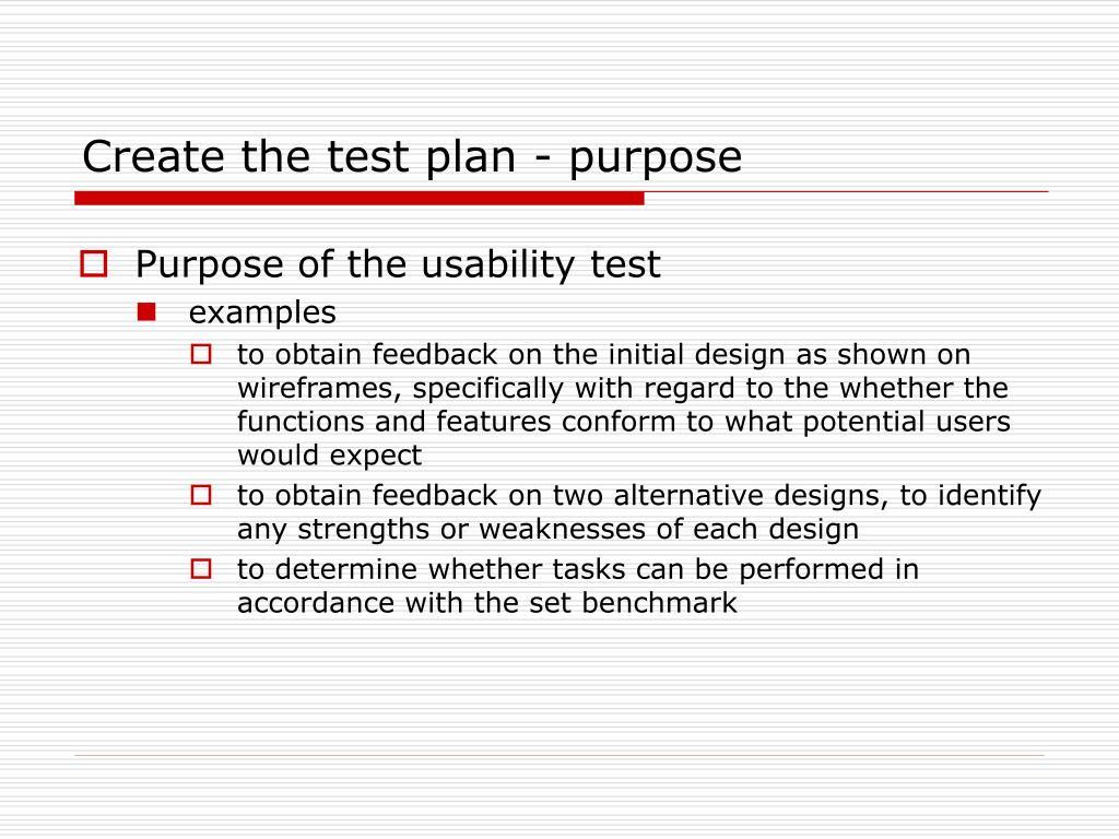 Create the test plan - purpose