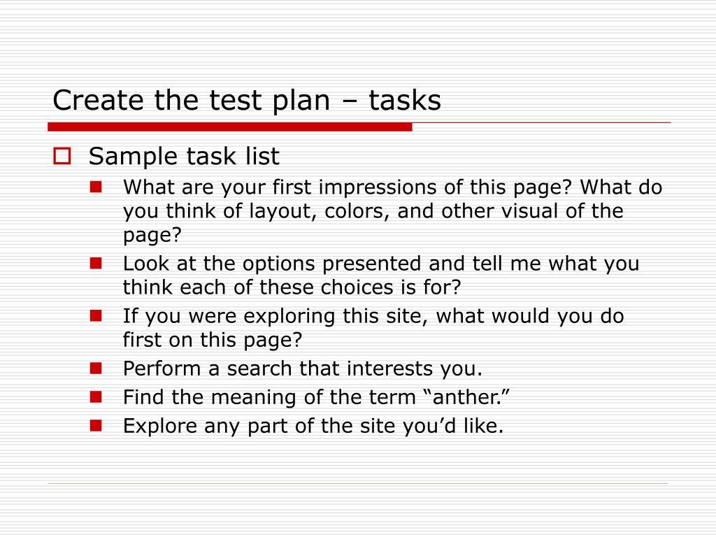 Create the test plan – tasks