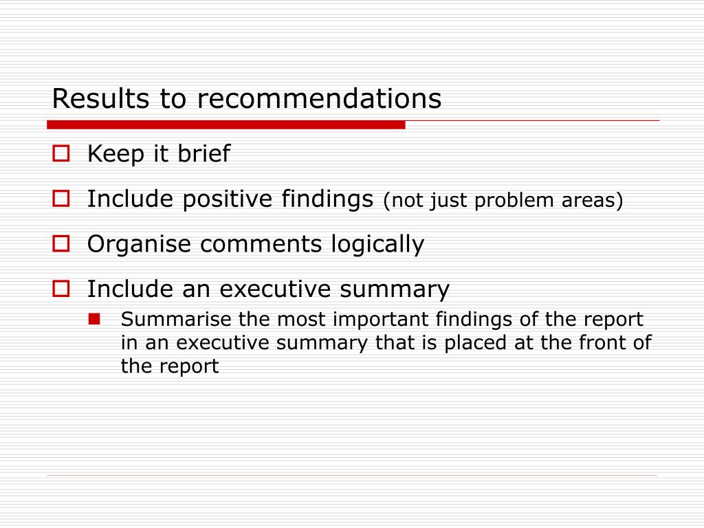 Results to recommendations