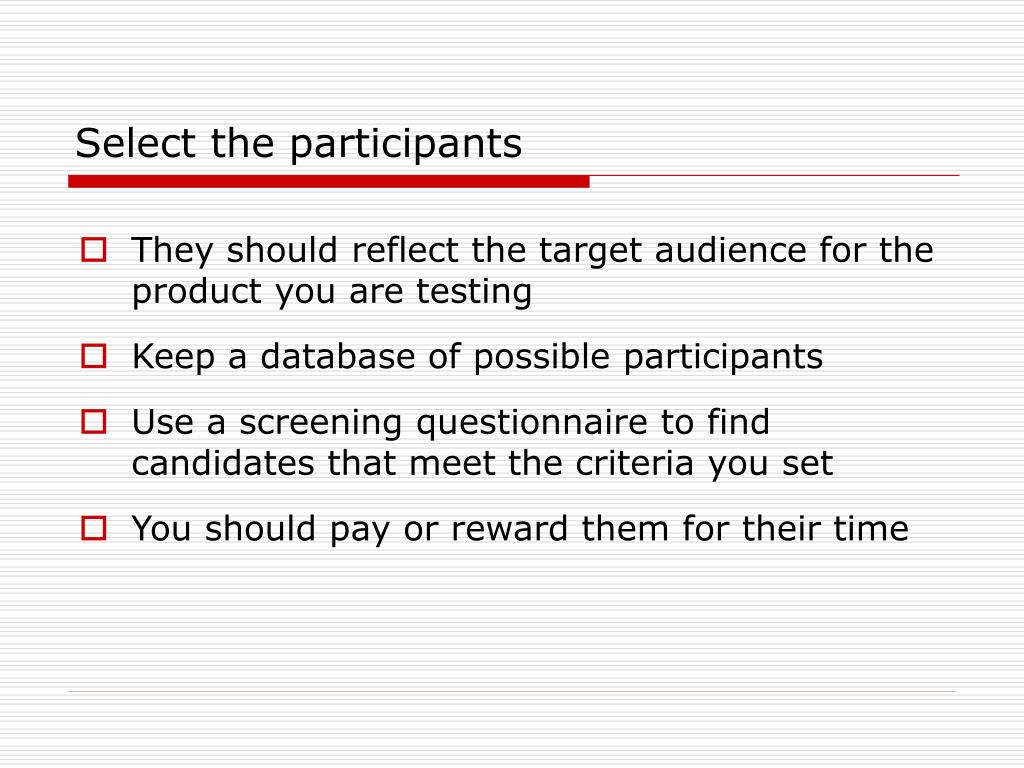 Select the participants