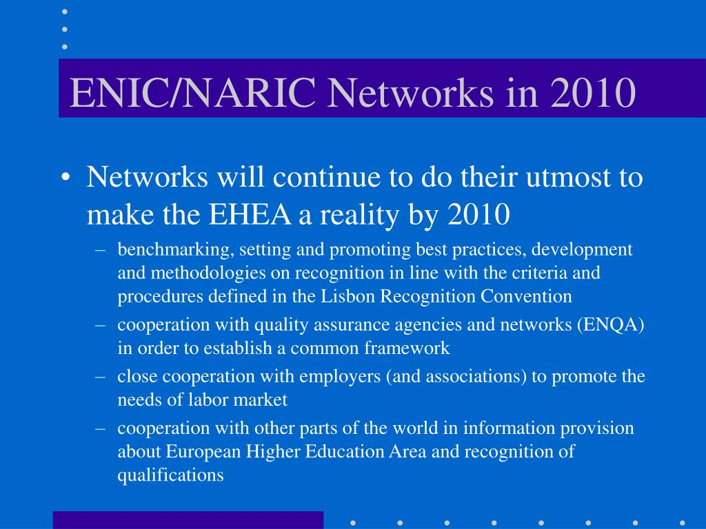 ENIC/NARIC Networks in 2010