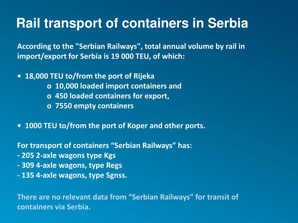 Rail transport of containers in Serbia