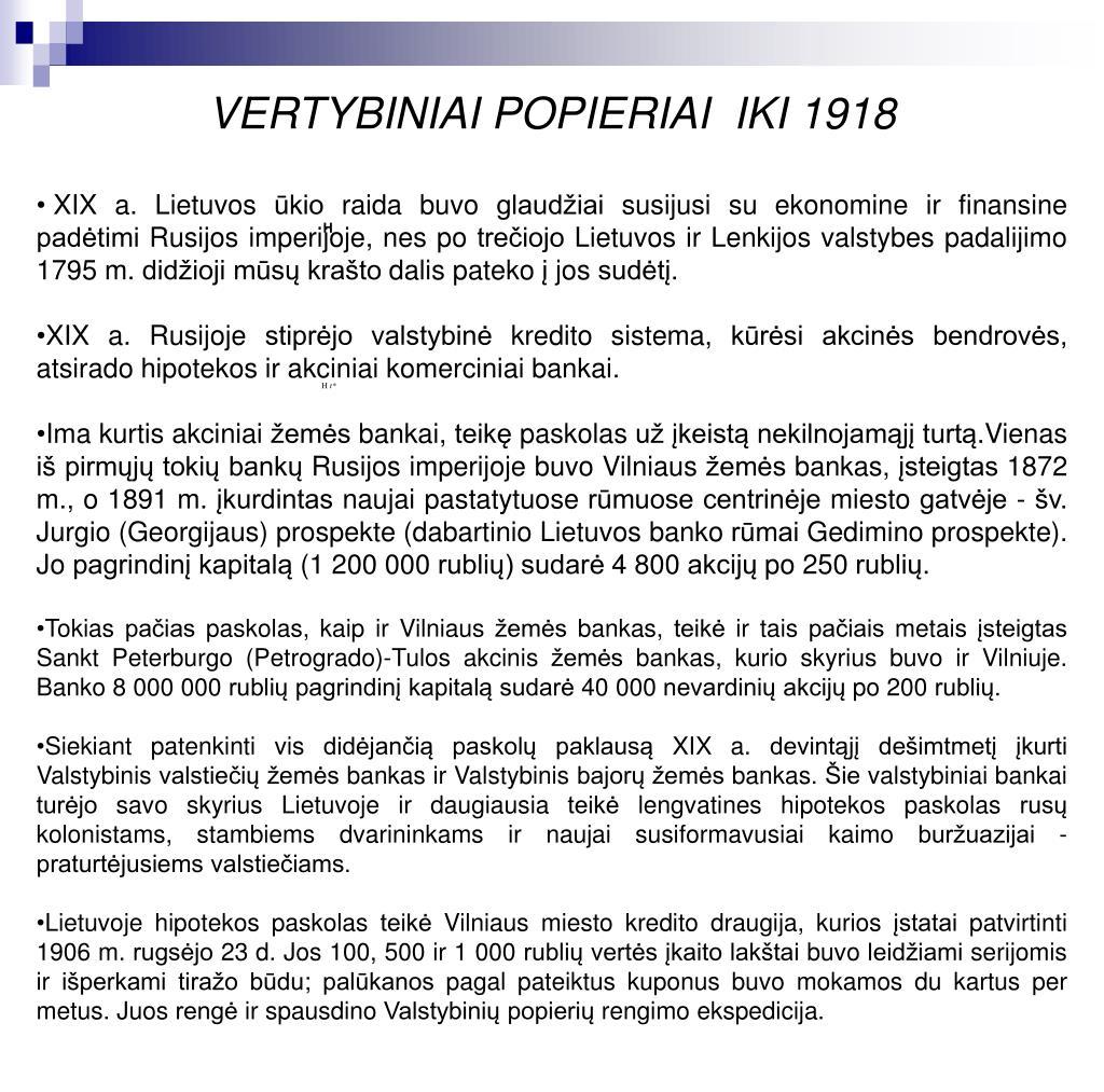 VERTYBINIAI POPIERIAI  IKI 1918