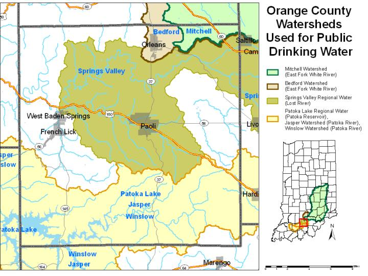 Watersheds used for drinking water by county 5 noble orange perry pike randolph ripley rush