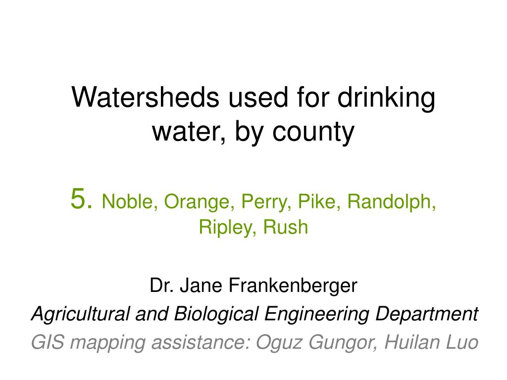 Watersheds used for drinking water, by county