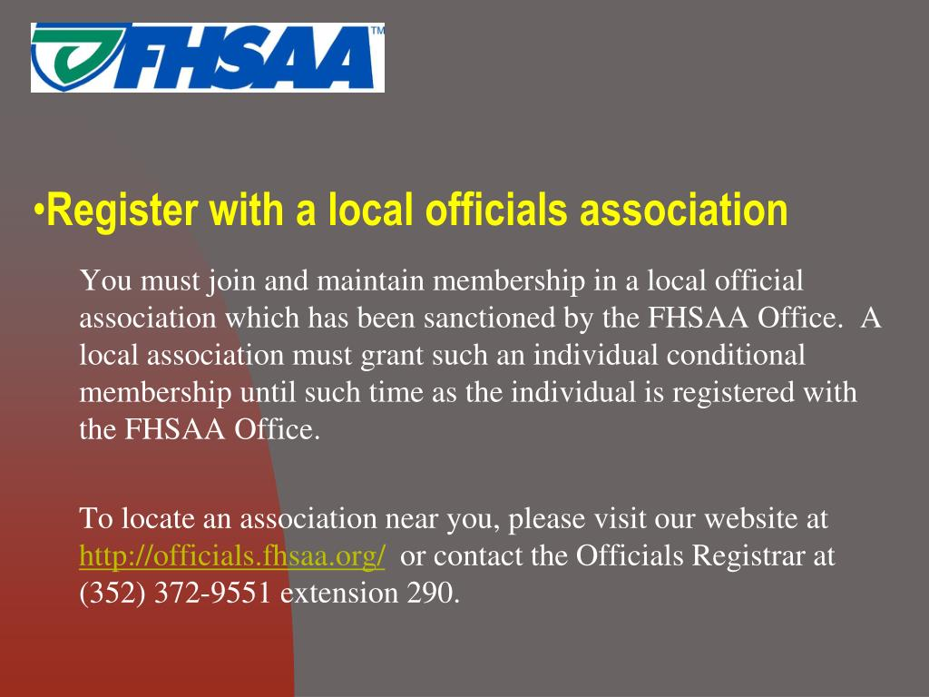 Register with a local officials association