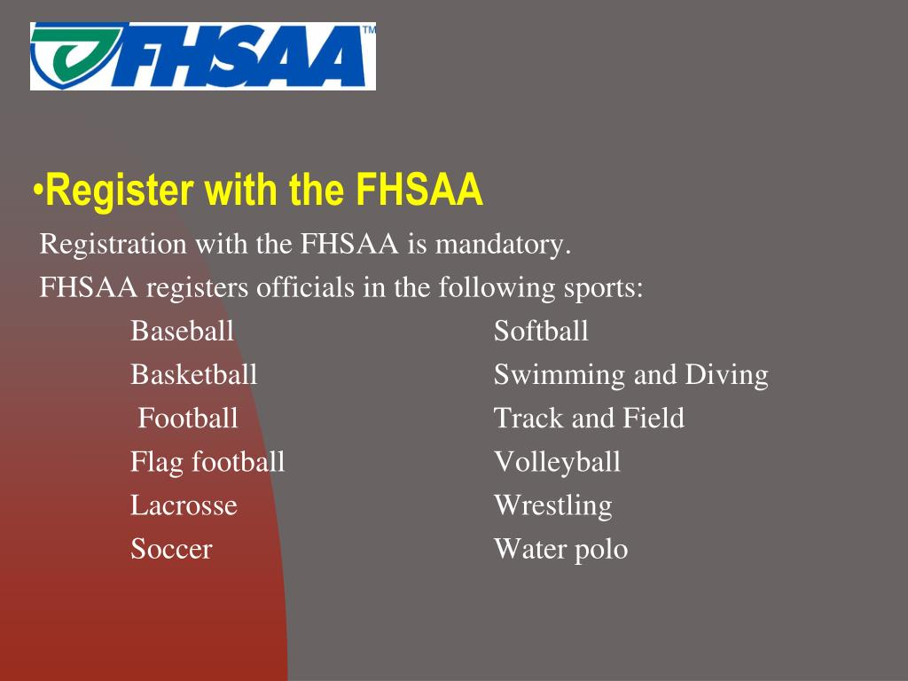 Register with the FHSAA