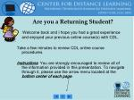are you a returning student