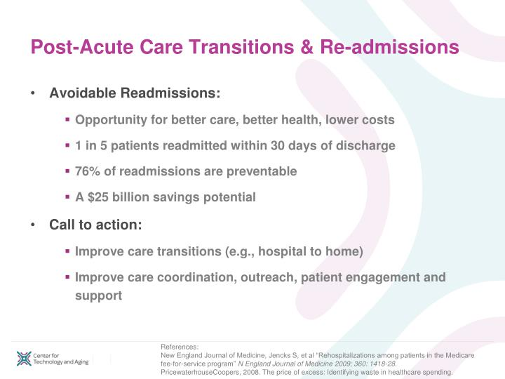 Post acute care transitions re admissions l.jpg