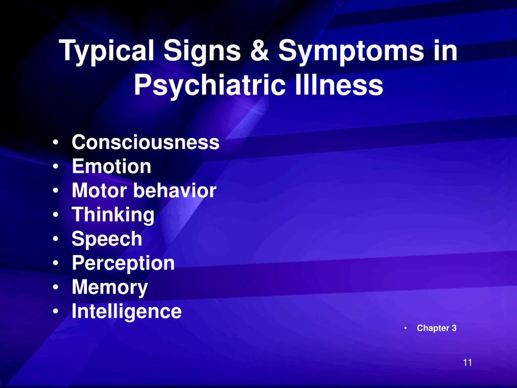 Typical Signs & Symptoms in Psychiatric Illness