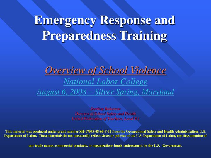 Emergency response and preparedness training l.jpg