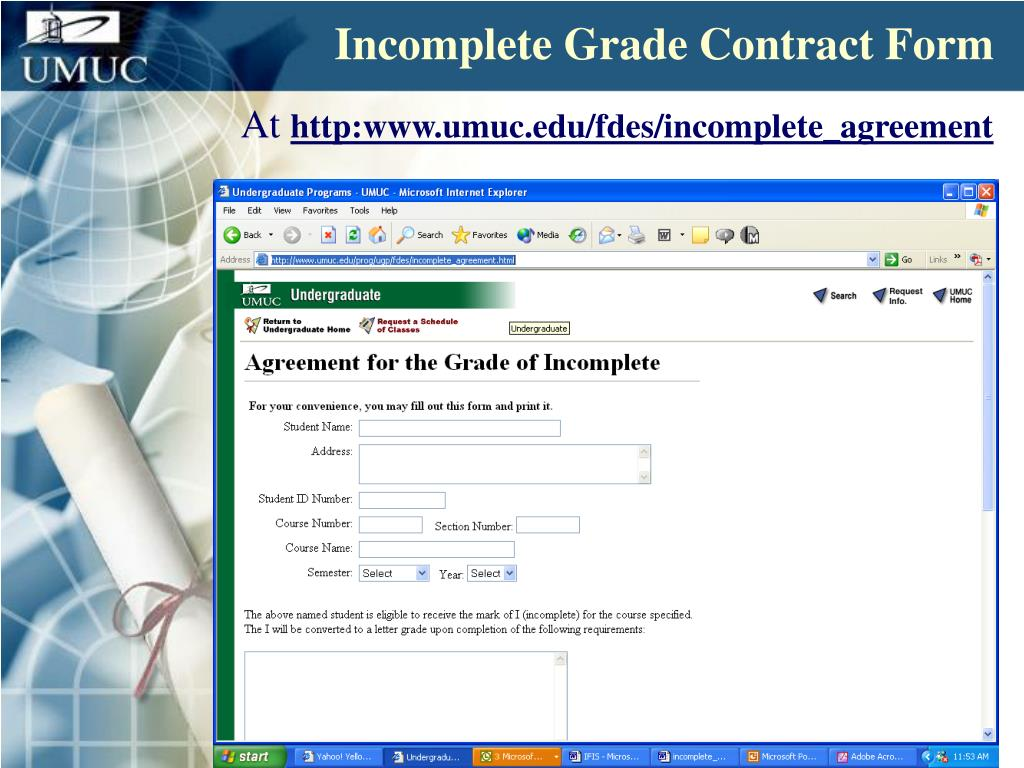 Incomplete Grade Contract Form