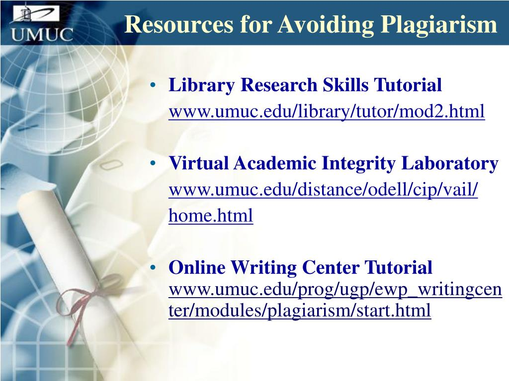 Resources for Avoiding Plagiarism