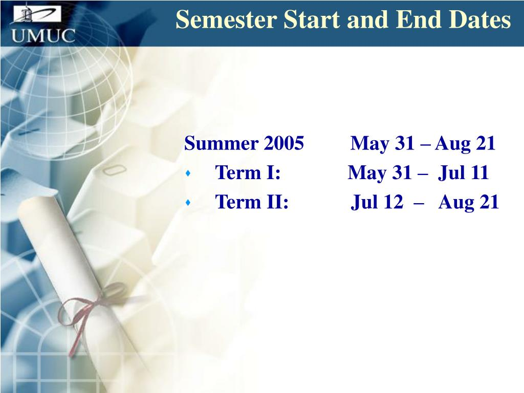 Semester Start and End Dates