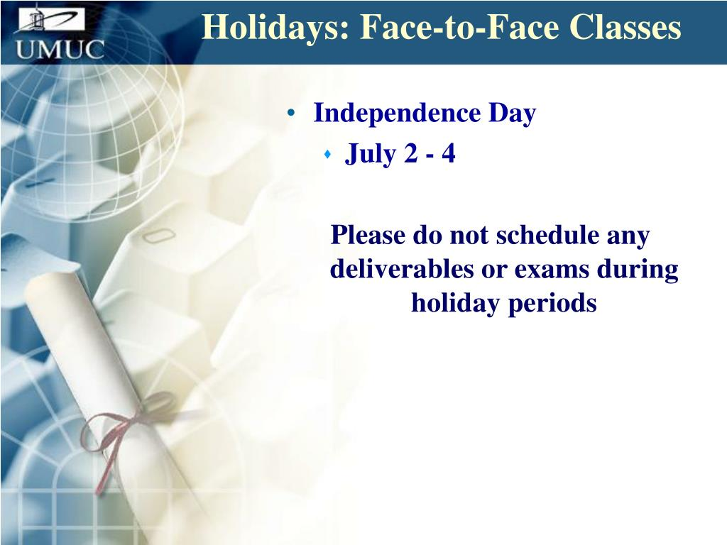 Holidays: Face-to-Face Classes